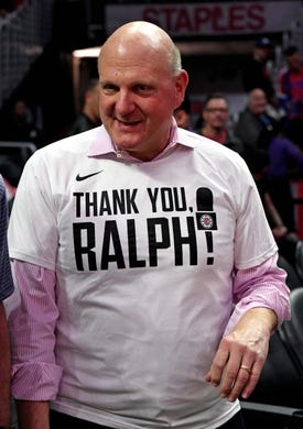 Apr 10, 2019; Los Angeles, CA, USA; LA Clippers owner Steve Ballmer is wearing a t-shirt honoring Clippers broadcaster Ralph Lawler (not pictured) announced his final regular season game after 40 years before a game against the Utah Jazz at Staples Center. Mandatory Credit: Kirby Lee-USA TODAY Sports
