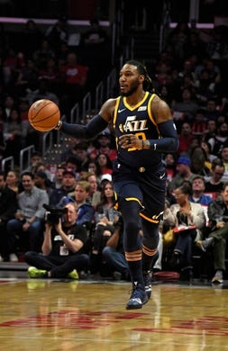 Apr 10, 2019; Los Angeles, CA, USA; Utah Jazz forward Jae Crowder (99) dribbles the ball up court against the LA Clippers in the first half at Staples Center. Mandatory Credit: Kirby Lee-USA TODAY Sports