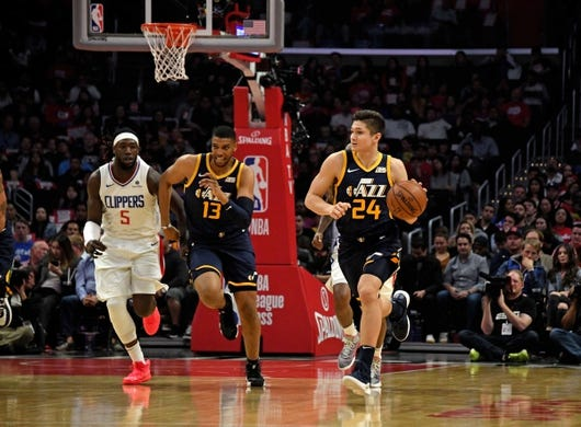 Apr 10, 2019; Los Angeles, CA, USA; Utah Jazz guard Grayson Allen (24) dribbles the ball against LA Clippers in the first half at Staples Center. Mandatory Credit: Kirby Lee-USA TODAY Sports