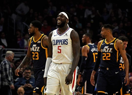 Apr 10, 2019; Los Angeles, CA, USA; LA Clippers forward Montrezl Harrell (5) reacts during a game against the Utah Jazz in the first half at Staples Center. Mandatory Credit: Kirby Lee-USA TODAY Sports