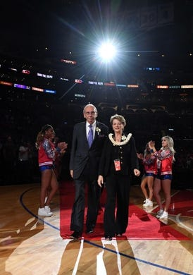 Apr 10, 2019; Los Angeles, CA, USA;  LA Clippers broadcaster Ralph Lawler and wife Jo arrive at a halftime ceremony to recognize his final regular season game after 40 yearsf at Staples Center. Mandatory Credit: Kirby Lee-USA TODAY Sports