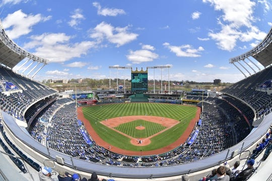 Apr 11, 2019; Kansas City, MO, USA; A general view of Kauffman Stadium during the third inning of the game between the Kansas City Royals and Seattle Mariners. Mandatory Credit: Denny Medley-USA TODAY Sports