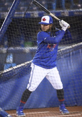 Apr 12, 2019; Toronto, Ontario, CAN; Toronto Blue Jays shortstop Freddy Galvis (16) takes batting practice against the Tampa Bay Rays at Rogers Centre. Mandatory Credit: Nick Turchiaro-USA TODAY Sports