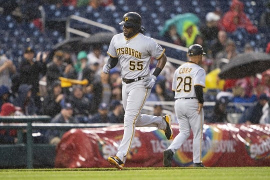 Apr 12, 2019; Washington, DC, USA; Pittsburgh Pirates first baseman Josh Bell (55) rounds the bases after hitting a home run during the second inning at Nationals Park. Mandatory Credit: Gregory J. Fisher-USA TODAY Sports