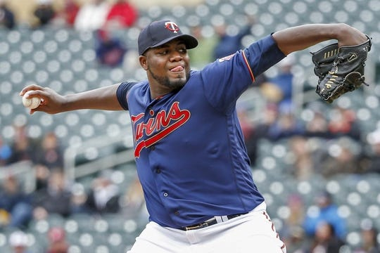 Apr 13, 2019; Minneapolis, MN, USA; Minnesota Twins starting pitcher Michael Pineda (35) throws to the Detroit Tigers in the first inning at Target Field. Mandatory Credit: Bruce Kluckhohn-USA TODAY Sports