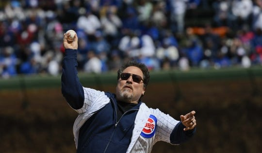 Apr 13, 2019; Chicago, IL, USA; Jon Favareau, an American actor, throws out a ceremonial first pitch before a game between the Chicago Cubs and th Los Angeles Angels at Wrigley Field. Mandatory Credit: Matt Marton-USA TODAY Sports