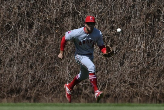 Apr 13, 2019; Chicago, IL, USA; Los Angeles Angels shortstop David Fletcher (6) chases a ball hit by Chicago Cubs right fielder Jason Heyward (22) in the second inning at Wrigley Field. Mandatory Credit: Matt Marton-USA TODAY Sports