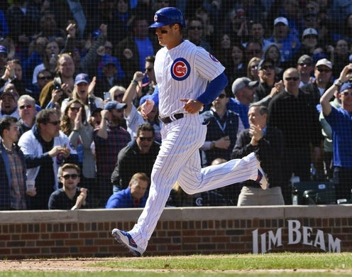 Apr 13, 2019; Chicago, IL, USA; Chicago Cubs first baseman Anthony Rizzo (44) scores against the Los Angeles Angels in the fifth inning at Wrigley Field. Mandatory Credit: Matt Marton-USA TODAY Sports