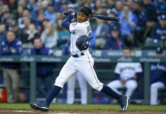 Apr 13, 2019; Seattle, WA, USA; Seattle Mariners center fielder Mallex Smith (0) strikes out against the Houston Astros during the first inning at T-Mobile Park. Mandatory Credit: Joe Nicholson-USA TODAY Sports