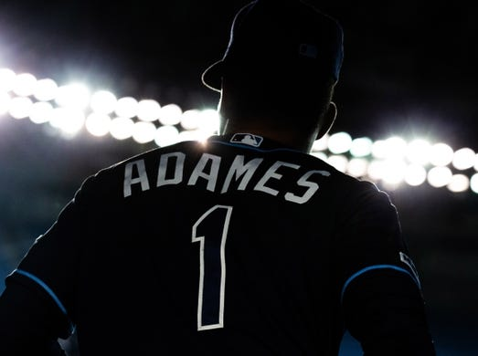 Apr 14, 2019; Toronto, Ontario, CAN; Tampa Bay Rays shortstop Willy Adames (1) prepares to take the field against the Toronto Blue Jays at Rogers Centre. Mandatory Credit: Kevin Sousa-USA TODAY Sports