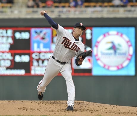 Apr 16, 2019; Minneapolis, MN, USA;  Minnesota Twins pitcher Kyle Gibson (44) delivers a pitch during the second inning against the Toronto Blue Jays at Target Field. Mandatory Credit: Marilyn Indahl-USA TODAY Sports