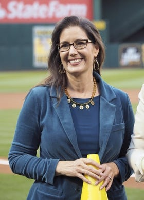 Apr 17, 2019; Oakland, CA, USA; Oakland mayor Libby Schaaf smiles before the game between the Oakland Athletics and the Houston Astros at Oakland Coliseum. Mandatory Credit: Kelley L Cox-USA TODAY Sports