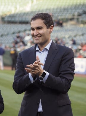 Apr 17, 2019; Oakland, CA, USA; Oakland Athletics president Dave Kaval before the game against the Houston Astros at Oakland Coliseum. Mandatory Credit: Kelley L Cox-USA TODAY Sports