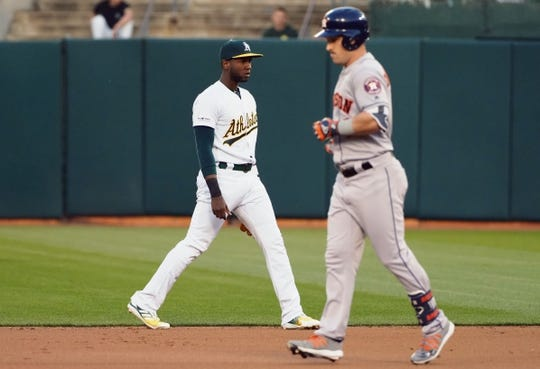 Apr 17, 2019; Oakland, CA, USA; Oakland Athletics second baseman Jurickson Profar (23) looks on as Houston Astros third baseman Alex Bregman (2) jogs by after a throwing error by Profar during the first inning at Oakland Coliseum. Mandatory Credit: Kelley L Cox-USA TODAY Sports
