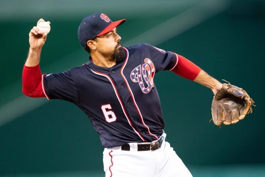 Apr 12, 2019; Washington, DC, USA; Washington Nationals third baseman Anthony Rendon (6) make a warm up throw to first base prior to the start of the game against the Pittsburgh Pirates at Nationals Park. Mandatory Credit: Gregory J. Fisher-USA TODAY Sports