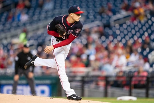 Apr 12, 2019; Washington, DC, USA; Washington Nationals pitcher Patrick Corbin (46) delivers a pitch during the first inning against the Pittsburgh Pirates at Nationals Park. Mandatory Credit: Gregory J. Fisher-USA TODAY Sports