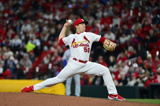 Apr 19, 2019; St. Louis, MO, USA; St. Louis Cardinals relief pitcher Ryan Helsley (56) pitches during the sixth inning against the New York Mets at Busch Stadium. Mandatory Credit: Jeff Curry-USA TODAY Sports