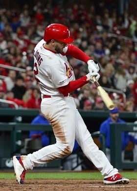 Apr 19, 2019; St. Louis, MO, USA; St. Louis Cardinals shortstop Paul DeJong (12) breaks his bat as he grounds out during the fifth inning against the New York Mets at Busch Stadium. Mandatory Credit: Jeff Curry-USA TODAY Sports