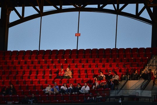 Apr 19, 2019; St. Louis, MO, USA; Fans look on  as the St. Louis Cardinals play the New York Mets during the first inning at Busch Stadium. Mandatory Credit: Jeff Curry-USA TODAY Sports