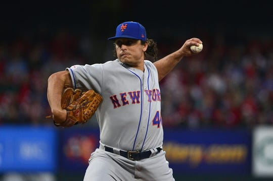 Apr 19, 2019; St. Louis, MO, USA; New York Mets starting pitcher Jason Vargas (44) pitches during the first inning against the St. Louis Cardinals at Busch Stadium. Mandatory Credit: Jeff Curry-USA TODAY Sports