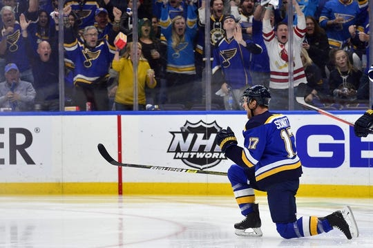 Apr 20, 2019; St. Louis, MO, USA; St. Louis Blues left wing Jaden Schwartz (17) celebrates after scoring against Winnipeg Jets goaltender Connor Hellebuyck (not pictured) during the first period in game six of the first round of the 2019 Stanley Cup Playoffs at Enterprise Center. Mandatory Credit: Jeff Curry-USA TODAY Sports