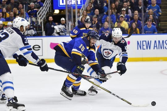Apr 20, 2019; St. Louis, MO, USA; iSt. Louis Blues center Robby Fabbri (15) and Winnipeg Jets defenseman Jacob Trouba (8) battle for the puck during the first period in game six of the first round of the 2019 Stanley Cup Playoffs at Enterprise Center. Mandatory Credit: Jeff Curry-USA TODAY Sports