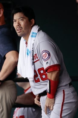 Apr 24, 2019; Denver, CO, USA; Washington Nationals catcher Kurt Suzuki (28) looks on from the dugout in the third inning against the Colorado Rockies at Coors Field. Mandatory Credit: Isaiah J. Downing-USA TODAY Sports