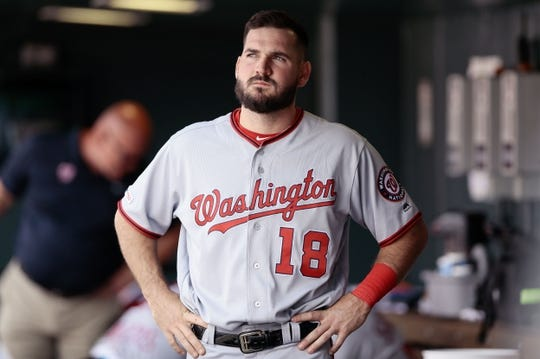 Apr 24, 2019; Denver, CO, USA; Washington Nationals third baseman Jake Noll (18) in the dugout in the third inning against the Colorado Rockies at Coors Field. Mandatory Credit: Isaiah J. Downing-USA TODAY Sports