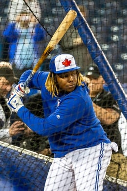 Apr 26, 2019; Toronto, Ontario, CAN;  Toronto Blue Jays player Vladimir Guerrero Jr. during batting practice before playing the Oakland Athletics at Rogers Centre. Mandatory Credit: Kevin Sousa-USA TODAY Sports