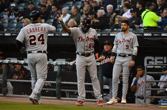 Apr 26, 2019; Chicago, IL, USA; Detroit Tigers first baseman Miguel Cabrera (24) reacts after hitting a home run against Chicago White Sox starting pitcher Carlos Rodon (not pictured) during the first inning at Guaranteed Rate Field. Mandatory Credit: Mike DiNovo-USA TODAY Sports