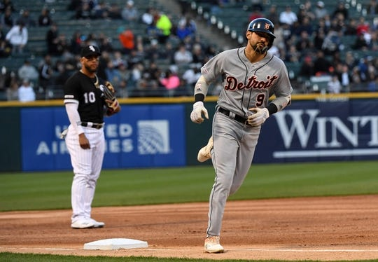 Apr 26, 2019; Chicago, IL, USA; Detroit Tigers right fielder Nicholas Castellanos (9) rounds third base after hitting a home run against Chicago White Sox starting pitcher Carlos Rodon (not pictured) during the first inning at Guaranteed Rate Field. Mandatory Credit: Mike DiNovo-USA TODAY Sports