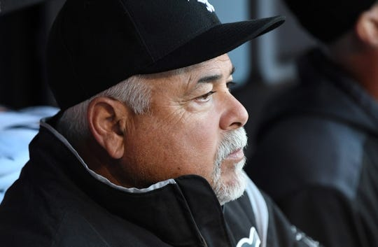 Apr 26, 2019; Chicago, IL, USA; Chicago White Sox manager Rick Renteria (36) looks on during the first inning against the Detroit Tigers at Guaranteed Rate Field. Mandatory Credit: Mike DiNovo-USA TODAY Sports