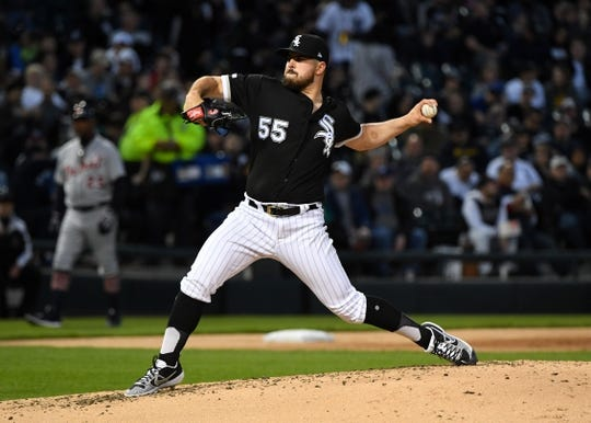 Apr 26, 2019; Chicago, IL, USA; Chicago White Sox starting pitcher Carlos Rodon (55) throws a pitch against the Detroit Tigers during the second inning at Guaranteed Rate Field. Mandatory Credit: Mike DiNovo-USA TODAY Sports