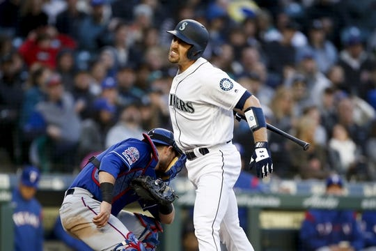 Apr 27, 2019; Seattle, WA, USA; Seattle Mariners catcher Tom Murphy (2) reacts to striking out to end the fourth inning against the Texas Rangers at T-Mobile Park. Mandatory Credit: Jennifer Buchanan-USA TODAY Sports