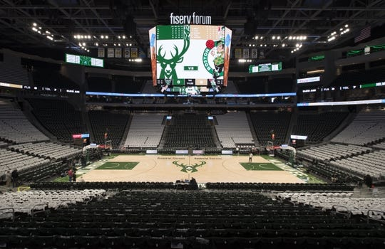Apr 28, 2019; Milwaukee, WI, USA; General view of the inside of the Fiserv Forum prior to game one of the second round of the 2019 NBA Playoffs between the Boston Celtics and Milwaukee Bucks. Mandatory Credit: Jeff Hanisch-USA TODAY Sports