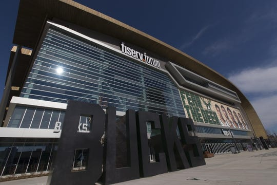 Apr 28, 2019; Milwaukee, WI, USA; Outside view of the Fiserv Forum prior to game one of the second round of the 2019 NBA Playoffs between the Boston Celtics and Milwaukee Bucks. Mandatory Credit: Jeff Hanisch-USA TODAY Sports