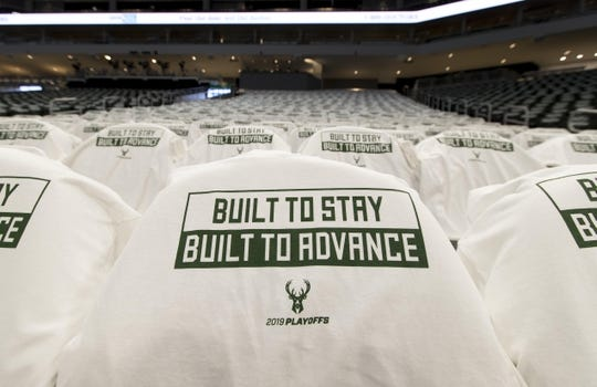 Apr 28, 2019; Milwaukee, WI, USA; Milwaukee Bucks t-shirts hang on seats prior to game one of the second round of the 2019 NBA Playoffs against the Boston Celtics at Fiserv Forum. Mandatory Credit: Jeff Hanisch-USA TODAY Sports