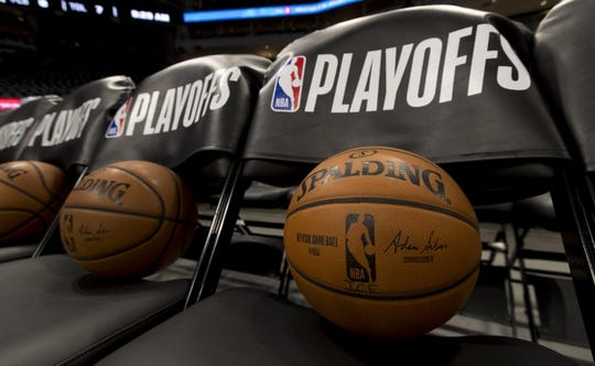 Apr 28, 2019; Milwaukee, WI, USA; NBA basketballs rest on chairs prior to game one of the second round of the 2019 NBA Playoffs between the jBoston Celtics and Milwaukee Bucks at Fiserv Forum. Mandatory Credit: Jeff Hanisch-USA TODAY Sports