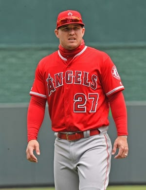 Apr 28, 2019; Kansas City, MO, USA; Los Angeles Angels center fielder Mike Trout (27) looks on before the game against the Kansas City Royals at Kauffman Stadium. Mandatory Credit: Peter G. Aiken