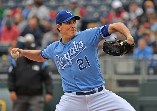 Apr 28, 2019; Kansas City, MO, USA; Kansas City Royals starting pitcher Homer Bailey (21) delivers a pitch during the first inning against the Los Angeles Angels at Kauffman Stadium. Mandatory Credit: Peter G. Aiken
