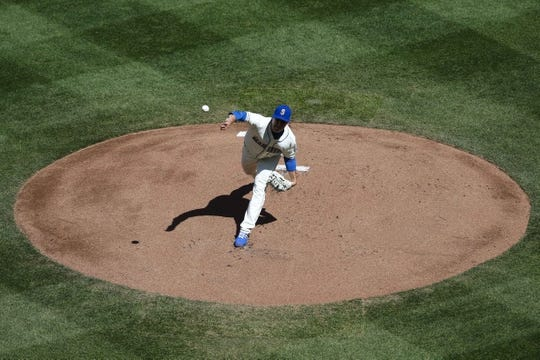 Apr 28, 2019; Seattle, WA, USA; Seattle Mariners starting pitcher Erik Swanson (50) throws against the Texas Rangers during the first inning at T-Mobile Park. Mandatory Credit: Joe Nicholson-USA TODAY Sports