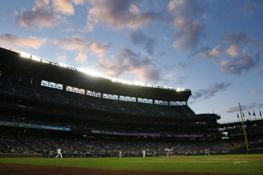 Apr 30, 2019; Seattle, WA, USA; General view of T-Mobile Park during the fourth inning of a game between the Chicago Cubs and Seattle Mariners. Mandatory Credit: Joe Nicholson-USA TODAY Sports
