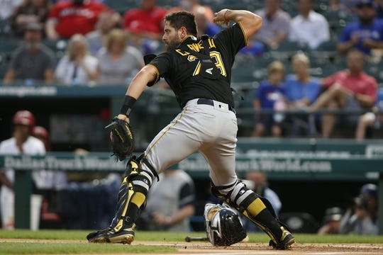 Apr 30, 2019; Arlington, TX, USA; Pittsburgh Pirates catcher Francisco Cervelli (29) throws to second base for a force out in the first inning against the Texas Rangers at Globe Life Park in Arlington. Mandatory Credit: Tim Heitman-USA TODAY Sports