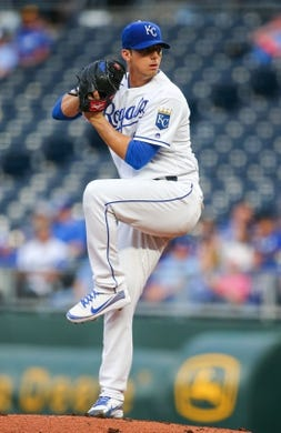 Apr 10, 2019; Kansas City, MO, USA; Kansas City Royals starting pitcher Heath Fillmyer (49) pitches against the Seattle Mariners at Kauffman Stadium. Mandatory Credit: Jay Biggerstaff-USA TODAY Sports