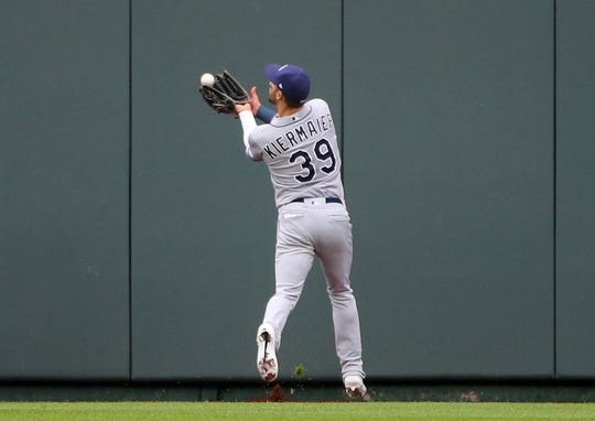 May 1, 2019; Kansas City, MO, USA; Tampa Bay Rays center fielder Kevin Kiermaier (39) catches a fly ball against the Kansas City Royals during the third inning in the first game of a baseball doubleheader at Kauffman Stadium. Mandatory Credit: Jay Biggerstaff-USA TODAY Sports