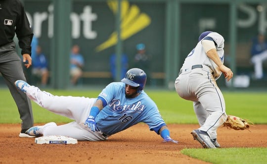 May 1, 2019; Kansas City, MO, USA; Kansas City Royals catcher Martin Maldonado (16) slides into second base ahead of the tag by Tampa Bay Rays second baseman Brandon Lowe (8) during the seventh inning in the first game of a baseball doubleheader at Kauffman Stadium. Mandatory Credit: Jay Biggerstaff-USA TODAY Sports