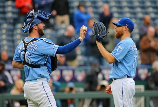 May 1, 2019; Kansas City, MO, USA; Kansas City Royals catcher Cam Gallagher (36) celebrates with relief pitcher Ian Kennedy (31) after defeating the Tampa Bay Rays in the first game of a baseball doubleheader at Kauffman Stadium. Mandatory Credit: Jay Biggerstaff-USA TODAY Sports
