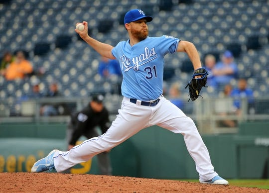 May 1, 2019; Kansas City, MO, USA; Kansas City Royals relief pitcher Ian Kennedy (31) pitches against the Tampa Bay Rays during the eighth inning in the first game of a baseball doubleheader at Kauffman Stadium. Mandatory Credit: Jay Biggerstaff-USA TODAY Sports