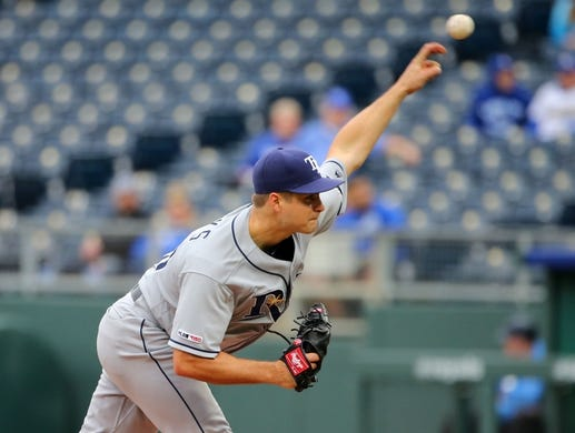 May 1, 2019; Kansas City, MO, USA; Tampa Bay Rays relief pitcher Jalen Beeks (68) pitches against the Kansas City Royals during the eighth inning in the first game of a baseball doubleheader at Kauffman Stadium. Mandatory Credit: Jay Biggerstaff-USA TODAY Sports