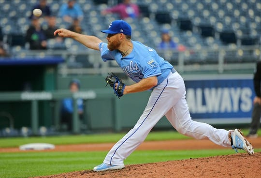 May 1, 2019; Kansas City, MO, USA; Kansas City Royals relief pitcher Ian Kennedy (31) pitches against the Tampa Bay Rays during the ninth inning in the first game of a baseball doubleheader at Kauffman Stadium. Mandatory Credit: Jay Biggerstaff-USA TODAY Sports